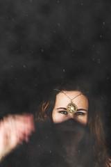 Magical (Alyssa Mort) Tags: portrait woman mist selfportrait black girl dark stars movement darkness magic nevada indoor fantasy reno magical curlyhair sureal genie headpiece conceptualeyes alyssamort
