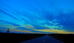 Road less traveled (sakarip) Tags: road autumn sunset car clouds finland landscape evening twilight alone driving north lonely bluehour sakarip