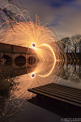 Wire Wool, Carr Mill Dam (wiganworryer) Tags: uk bridge light 2 england sky cloud lake west mill wool water st night clouds canon dark painting lens carr movement fishing wire long exposure arch angle fireworks outdoor 10 mark dam steel spin north wide sigma keith arches firework ii spinning 7d helens 20 gibson 1020 peg mk merseyside 2016 wiganworryer