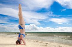 Life's a Beach (Tom Fenske Photography) Tags: travel summer sky people beach nature water girl yoga tattoo clouds landscape sand day outdoor bikini