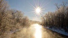 -3 degrees at the Cuyahoga River (jwroach) Tags: blue light sky sun cold reflection nature river golden frost steam cuyahoga rays sunrays