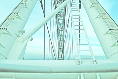 (nic lawrance) Tags: blue sky white lines architecture singapore asia structure pale cables ladder singaporeflyer