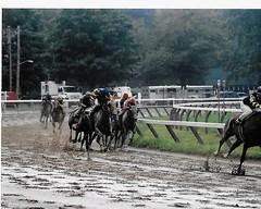Saratoga Mud (Shot by Newman) Tags: horses weather racetrack race 35mm mud rail upstateny jockeys riders horserace kodakfilm nyra saratogany saratogaracecourse kodakcolor400 sloppytrack shotbynewman