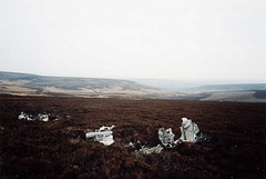Wreckage in the heather of Short Stirling LJ628 in Stainery Clough, Upper Commons, NE of Howden Reservoir, S Yorkshire, scan of my photo taken 24th March 2002. (Dave Wragg) Tags: worldwarii wreckage raf aircrash shortstirling uppercommons aircraftwreck lj628 staineryclough