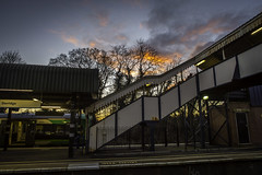 20160210_End of the Day (Damien Walmsley) Tags: trees light sunset sky station train platform trainstation february dorridge