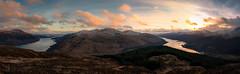 The Two Lochs (GenerationX) Tags: trees sunset sea sky panorama sun mist snow mountains water weather clouds forest landscape evening scotland village dusk scottish neil loch benlomond trossachs lochlomond barr arrochar thetrossachs benarthur lochlong ardgarten ardmay succoth cruachtairbeirt benreoch canon6d tullichhill cruachfiarach