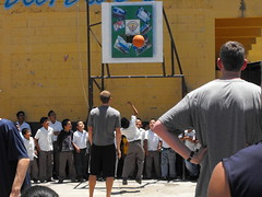 Teams do clinic near recently errupted volacno (AIA Basketball) Tags: guatemala highschool 2010