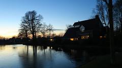 Blue winter evening sky above our house (dirk huijssoon) Tags: holland refelection broekoplangedijk watershape