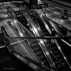 An Escalating Moment (CVerwaal) Tags: blackandwhite architecture stairs escalators ricohgr timewarnercenter