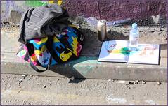 Bag and Sketchbook (Mabacam) Tags: streetart london wall painting bag graffiti sketch mural paint danielle wallart sketchbook urbanart waterloo spraypaint freehand publicart aerosolart spraycanart 2016 urbanwall aerosolpaint leakestreet