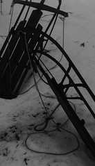 Sleds (jlseagull) Tags: winter bw snow sleds