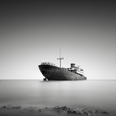 Shipwreck (LJP40) Tags: longexposure sea bw costa seascape storm beach mono coast boat nikon october rocks long exposure ship lanzarote minimal shipwreck le 1981 canaries canaryislands 31st arrecife teguise telamon d700 31stoctober1981