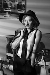 Maria Santonja 2 (drno_manchuria (simonsaw)) Tags: wearing hat fashion model women tie tshirt blogger knot modelo corbata sombrero gravata necktie tomboy nudo menswear tirantes camisete