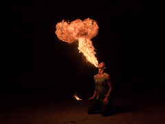 Fire Eater (picturemish) Tags: people beach fire crosby fireeater