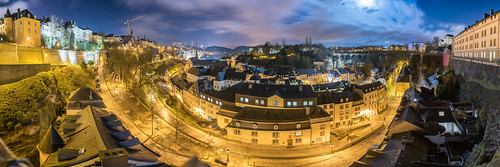 Luxembourg Grund night panorama