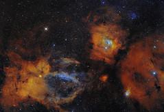 Bubble, M52 and SH2-157 (Roberto Colombari) Tags: stars nebula astrophotography astrofotografia bubble narrow sho dsw deepsky astrometrydotnet:status=solved astrometrydotnet:id=nova1473102