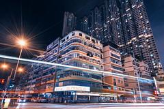 Kowloon City, Hong Kong (mikemikecat) Tags: lighttrails 土瓜灣 a7r nostalgia house hongkong mikemikecat architecture sony stacked building colorful housing pattern 屋邨 抽象 chung cyber 建築 red 建築物 城市 天際線 戶外 建築大樓 摩天大廈 kowlooncity 九龍城 房間 夜景 tokwawan