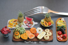 Miniature Fruit and Vegetables Trays (PetitPlat - Stephanie Kilgast) Tags: sculpture art miniatures miniature handmade polymerclay fimo foodart dollhouse realism miniaturefood oneinchscale 1to12