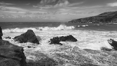 leaving the city all behind (lunaryuna) Tags: ocean sea bw monochrome beauty weather wales season landscape islands coast blackwhite spring rocks waves atlantic shore breeze lunaryuna anglesey northwales churchbay poweroftheelements lightmood seasonalwonders