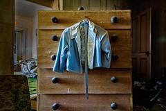 Blue Jacket (KPortin) Tags: abandoned furniture jacket abandonedhouse lincolncounty