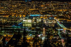 Drammen city by night seen from the forest (B.AA.S.) Tags: city travel tree nature norway night river lights norge arch view citylife tranquility nopeople scenics nightpicture grnland drammen tranquilscene 2016 ypsilon buskerud drammensmarka drammenselva