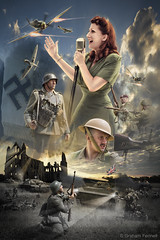 Re-enactment (G V Fennell) Tags: photoshop poster war aircraft creative montage ww2 soldiers british tanks germans militaryvehicles spitfires reenactmentday