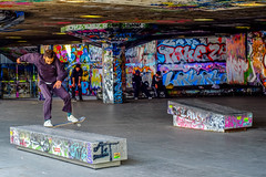 Southbank Skateboarding (Neal_T) Tags: city uk urban color colour london art graffiti fuji skating norfolk southbank norwich fujifilm londoncity riverthemes xt1