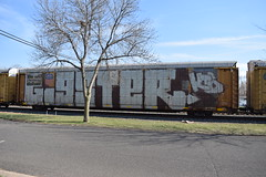 GIGSTER KTO (TheGraffitiHunters) Tags: auto street white black art car train graffiti colorful paint tracks spray whole rack covered carrier freight autorack gigster kto benched