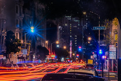 taylor street crossing (pbo31) Tags: sanfrancisco california longexposure red motion black color night dark hotel spring movement nikon traffic bayarea april nobhill roadway taylorstreet 2016 lightstream bushstreet boury pbo31 d810 hotelvintagecourt