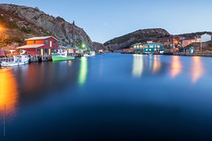 Old fishing village at Quidi Vidi harbour, St. John's (tuanland) Tags: city sunset summer house canada reflection building night port newfoundland evening boat twilight nikon village harbour hill stjohns clear bluehour nfld quidividi atlanticcanada d600 newfoundlandandlabrador nikond600 quidividibrewing