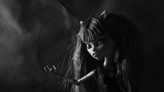 The exasperated den mother (Allan Saw) Tags: portrait blackandwhite doll cave mh werecat monsterhigh toraleisprite