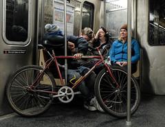 DSF14135 (howardzhang100) Tags: city newyork bike subway sleep fujifilm       classicchrome