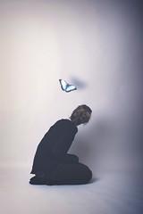 HABITS (2) (ezphoto.1995) Tags: blue colors girl wall butterfly studio photography model shadows dream manipulation imagination walls dreamer habits wonderer