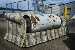 (Joseph Austin) Tags: abandoned trash relax garbage alley sitting tank poor business sofa abandon lane rusted sit rest unwanted innercity watertank striped hotwatertank poorpeople