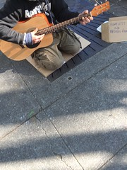 Homeless and Broken Hearted (david ross smith) Tags: california musician music sign berkeley guitar homeless performance sidewalk bayarea sanfranciscobay busker streetmusic busking guitarist guitarplayer streetmusician iphone acousticguitar brokenhearted shattuck playingguitar drs shattuckavenue playingmusic berkeleysweatshirt davidrosssmith
