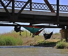 HANGING OUT (Darkmoon Photography) Tags: bridge people oklahoma rust steel relaxing chilling kayaking hammock okc darkmoon havingfun chilaxin lakeoverholser northcanadianriver rt66bridge okckayak