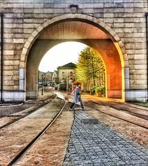 Walking home on a Friday (malherberossouw) Tags: railroad bridge sunset walking arch tram railway friday iphone iphone6