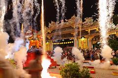 Anniversary burning paper lion festival in Taipei tonight. (Go Go Janet) Tags: festive temple smoke traditional folklore firework adventure celebration spark bustle firecrackers firecracker hustle folkcustom suddensparkle