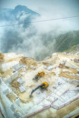 White marble quarries (fotografiche) Tags: italy cars statue stone danger work construction europe destruction mining business research impact damage vein marble statuary quarry carrara wealth export whitemarble apuanalps versiliahigh