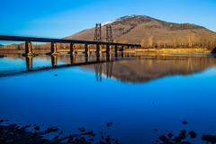 Connecting (stevenbulman44) Tags: bridge blue winter sky reflection water canon landscape outdoor tripod rail filter kamloops gitzo 70200f28l
