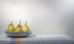 Simple Pleasures - Pears (Elisafox22 still Off more than On!) Tags: stilllife texture lens table four pears sony shapes bowl textures indoors pa 1855 tablecloth shape textured texturing htt simplepleasures nex6 promptaddicts elisafox22 texturaltuesday elisaliddell©2016
