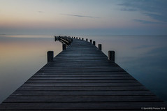 Camino al horizonte (SantiMB.Photos) Tags: autumn reflection sunrise geotagged pier lagoon amanecer reflejo pasarela embarcadero otoo laguna runway francia fra languedocroussillon pantaln fitou leucate 500px 2ig 2tumblr sal18250 2blogger geo:lat=4287315716 geo:lon=299854875