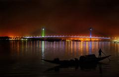 Second Howrah Bridge : A Photo-Paint (Chiradeep.) Tags: bridge light india reflection night river boat fisherman lowlight fishingboat kolkata calcutta ganga ganges westbengal secondhowrahbridge