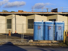 Super Save (geowelch) Tags: toronto constructionsite parkdale urbanlandscape portapottie urbanfragments industrialarchitecture newtopographics olympusomdem5 panasoniclumixvario1445mm