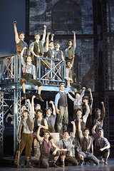 "Joey Barreiro (Jack Kelly) (center) and the company of the Broadway Sacramento presentation  of ""Newsies"" at the Sacramento Community Center Theater April 12 – 17, 2016.  ©Disney.  Photo by Deen  van Meer."