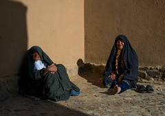 old women resting in a courtyard, Ardakan County, Aqda, Iran (Eric Lafforgue) Tags: people black building brick horizontal architecture outdoors photography persian clothing ancient women asia sitting iran islam bricks fulllength persia historic womenonly elderly historical iranian resting orient 2people twopeople adultsonly islamic middleeastern chador    iro  colourpicture  aqda gazestan irandsc08370 typital ardakancounty