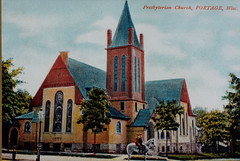 Presbyterian Church, Boys on Horseback, Color Postcard