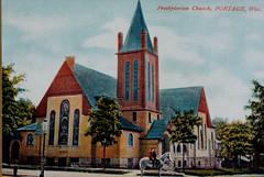 Presbyterian Church, Boys on Horseback, Color Postcard