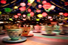 Mad Hatter's Tea Cups (Nicolas -) Tags: paris france colors speed alice disneyland cups animation lamps mouvement fantasyland lampes tasses nicolasthomas