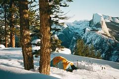 . (Kellen Mohr) Tags: winter snow film sunrise 35mm kodak backpacking yosemite halfdome newyears portra touring snowcamping 2016 wintercamping washburnpoint sierradesigns kellenmohr
